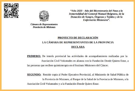 Declaración de Interés Provincial a las actividades de acompañamiento que realizan la Asociación Civil Voluntades y la Fundación Donde Quiero Estar